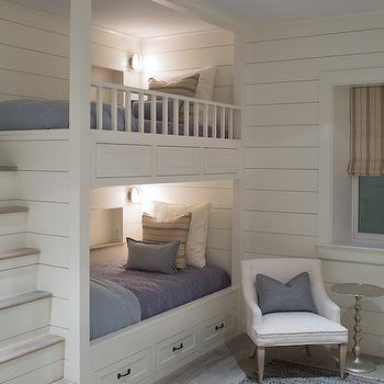 Bunk Beds with Built In Steps, Transitional, Boy's Room, Benjamin Moore White Dove, Sophie Metz Design