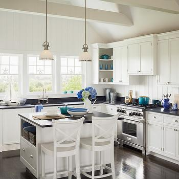 Kitchen with Cathedral Ceiling, Cottage, Living Room, Sophie Metz Design