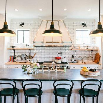 Extra Long Kitchen Island light gray shiplap kitchen island with white vintage barn pendants