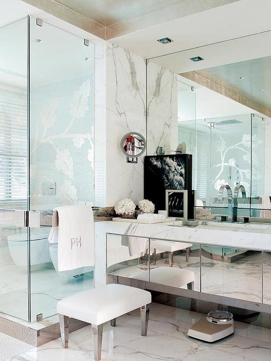 mirrored bathroom vanity  french  bathroom, Bathroom decor