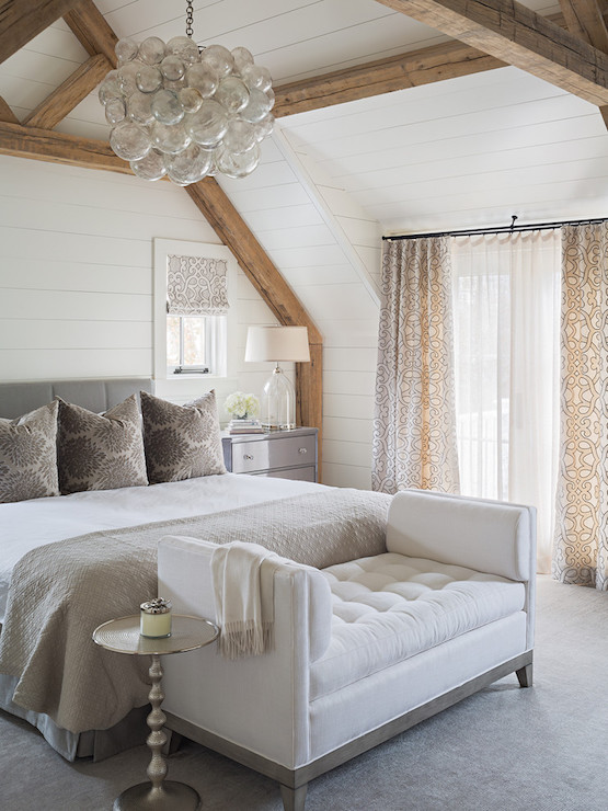 Bedroom With Rustic Wood Beams Transitional