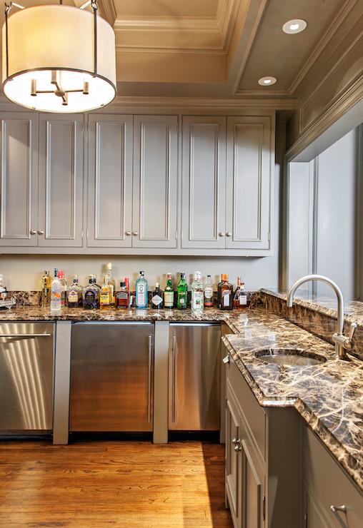 basement wet bar and refrigerator transitional basement. Black Bedroom Furniture Sets. Home Design Ideas