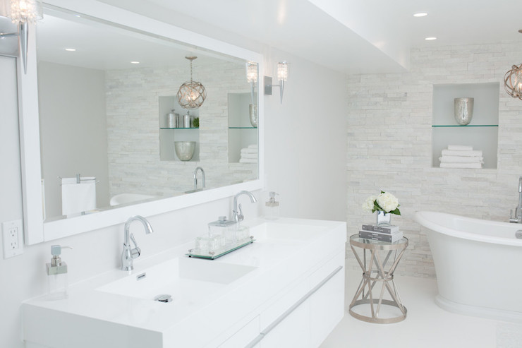 Bathroom Chandelier Sconces white bathroom cabinets with gray quartz countertops