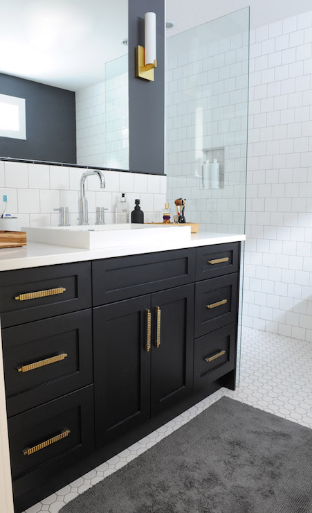 Delicieux Black Bathroom Vanity With Gold Hardware