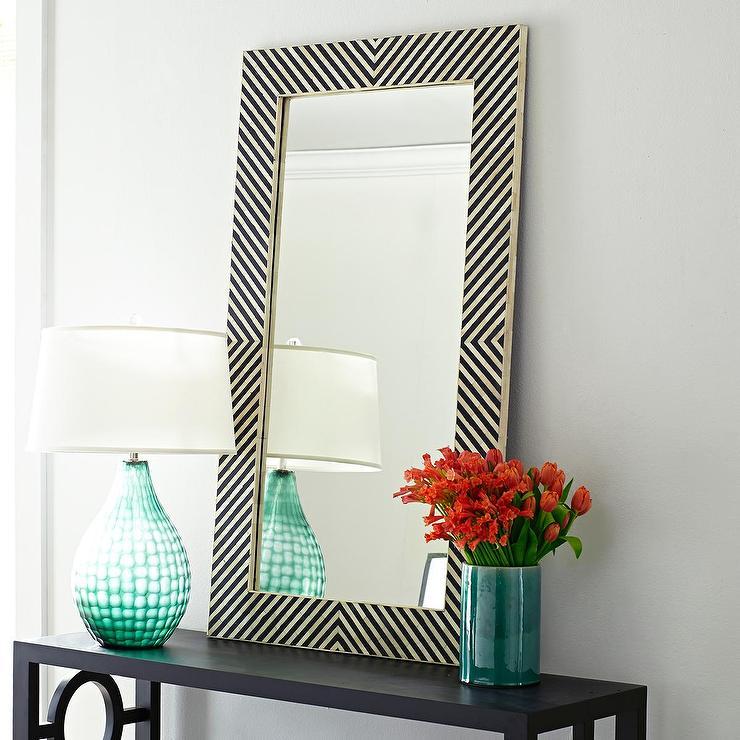 black and white stripe mirror. Black Bedroom Furniture Sets. Home Design Ideas