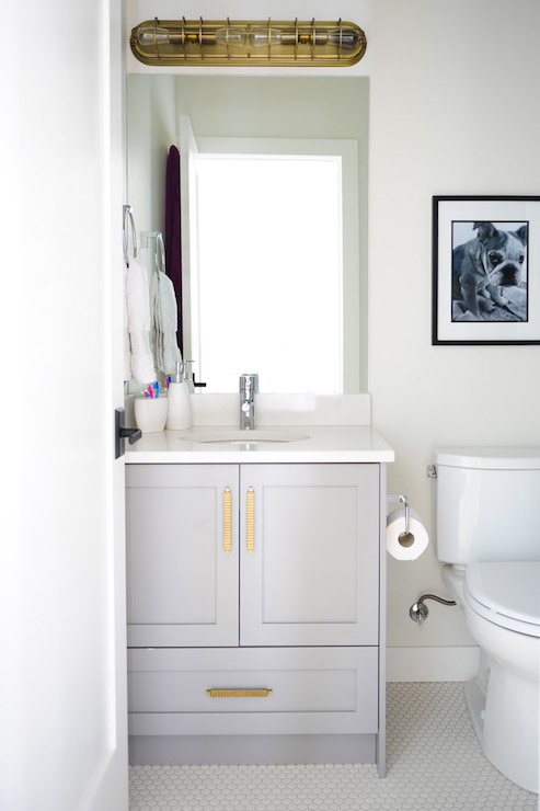 Gray Bathroom Vanity with Gold Pulls - Transitional - Bathroom ...