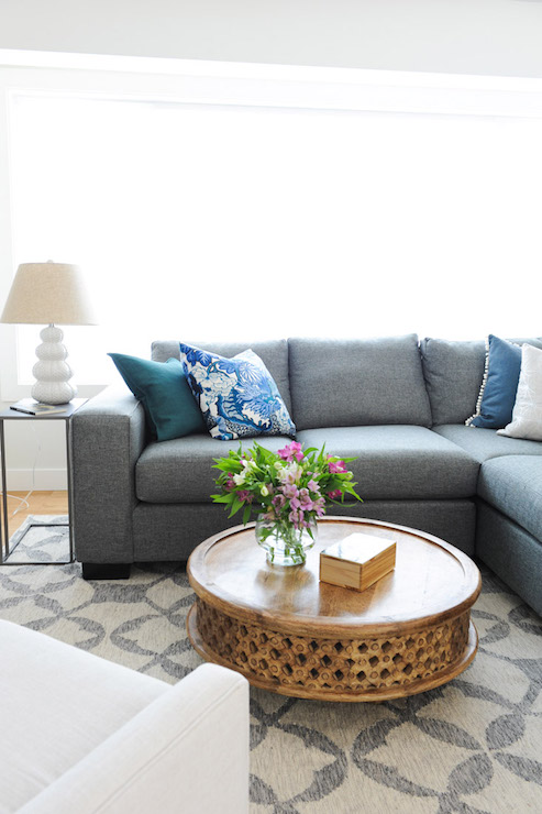 Gray Linen Sectional With Blue Pillows Contemporary