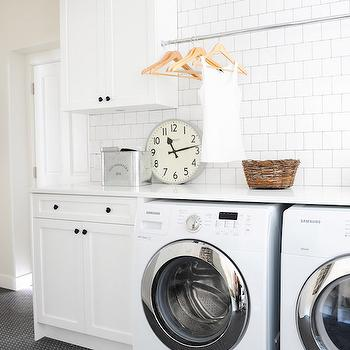 Tension Rod Over Washer and Dryer, Vintage, Laundry Room, Oliver and Simon Design