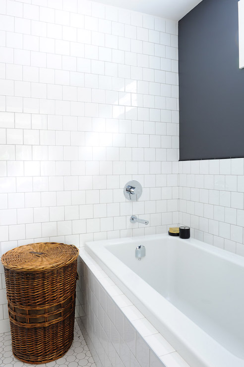Tiled Drop In Tub Transitional Bathroom Oliver And