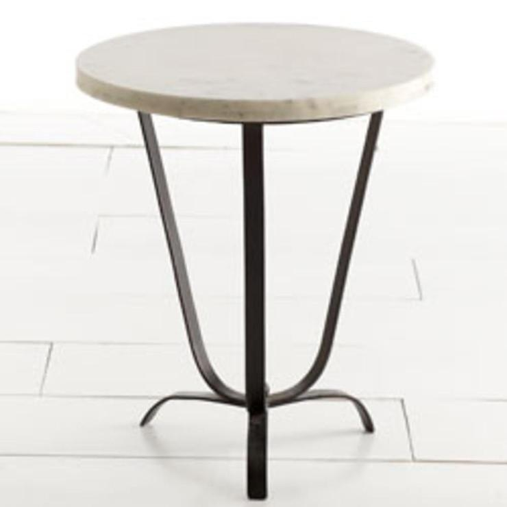 sleek white marble top accent table. Black Bedroom Furniture Sets. Home Design Ideas
