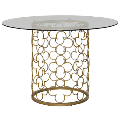 Overstock Quatrefoil Brush Gold Dining Table