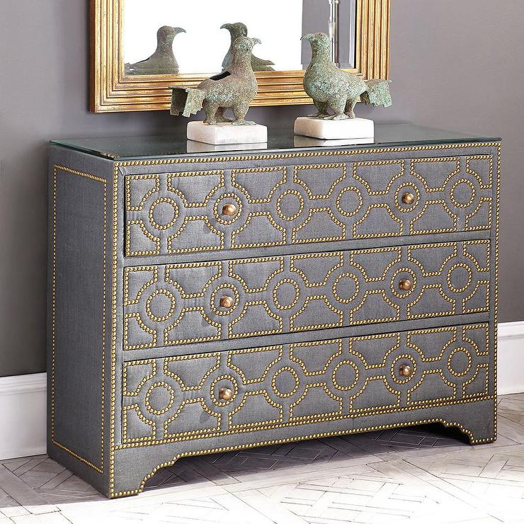 Circlet Gold Nailhead Gray Dresser