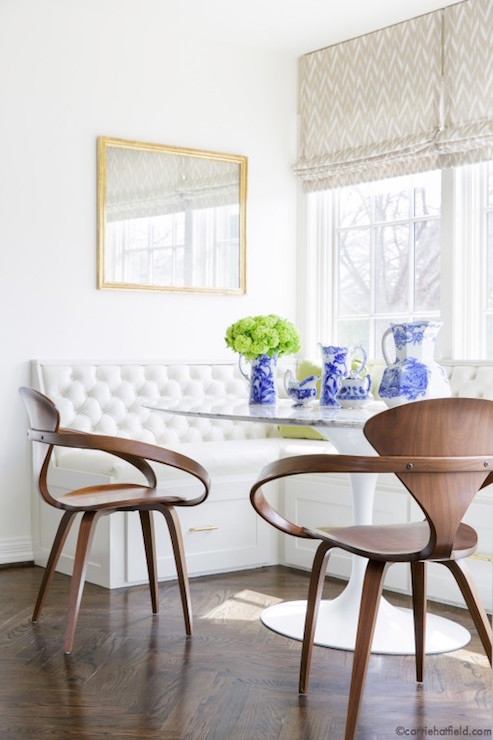 Window seat banquette with drawers transitional dining room carrie hatfield interior design - Built in banquette dining sets ...