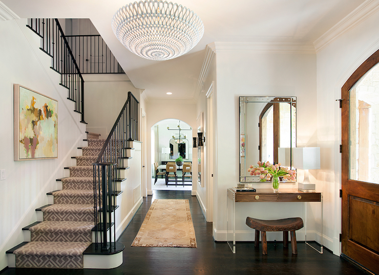 Wood And Lucite Console Table Transitional Entrance