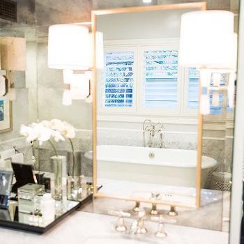 Antiqued Vanity Mirror, Transitional, Bathroom, Amy Berry Design