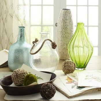 Rope Handle Bubble Glass Vases