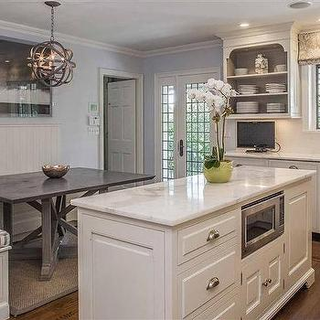 Ken Gemes Interiors · Built In Banquette With Beadboard Backsplash