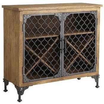 Dharan Weathered Iron Chain-link Doors Wine Chest