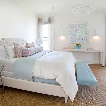 Turquoise Lucite Bench, Contemporary, Bedroom, Tracy Hardenburg Designs
