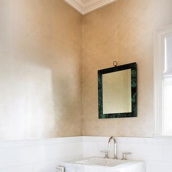 Malachite Mirror, Contemporary, Bathroom, Carrie Hatfield Interior Design