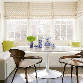 Vinyl Tufted Dining Banquette, Transitional, Dining Room, Carrie Hatfield Interior Design
