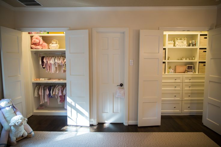 Nursery Boasts Two Closest With Closet On The Left Featuring Stacked  Clothes Rods And The Closet On The Right Featuring An 8 Drawer Built In  Dresser ...