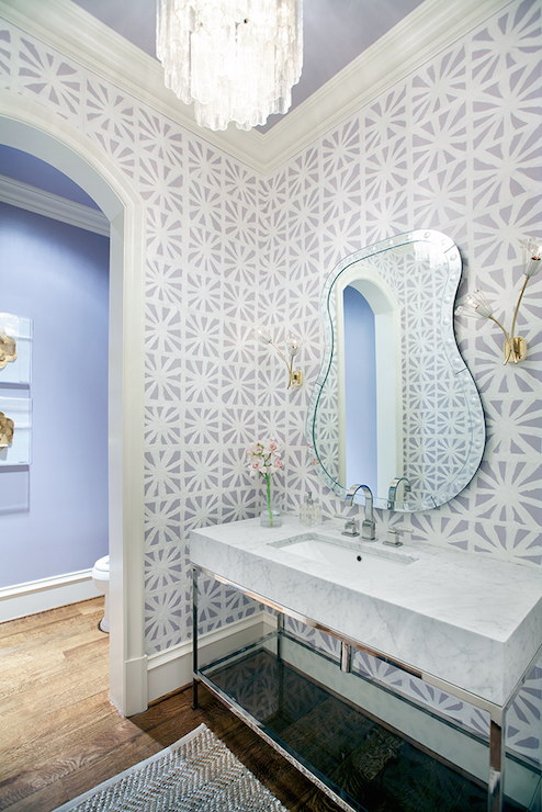 Gray powder rooms contemporary bathroom tracy for Gray bathroom wallpaper