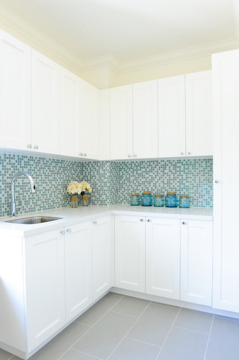Wonderful Blue Mosaic Glass Tiles - Contemporary - Laundry Room - Enviable  VC81