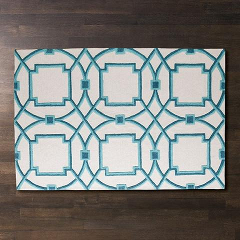 Amy Turquoise And White Wool Area Rug