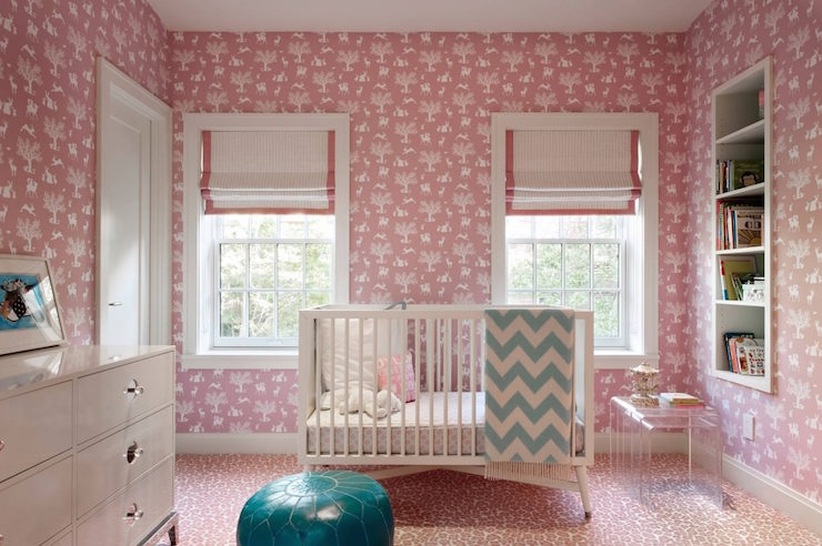 Pink Nursery Wallpaper Transitional DHD NYC