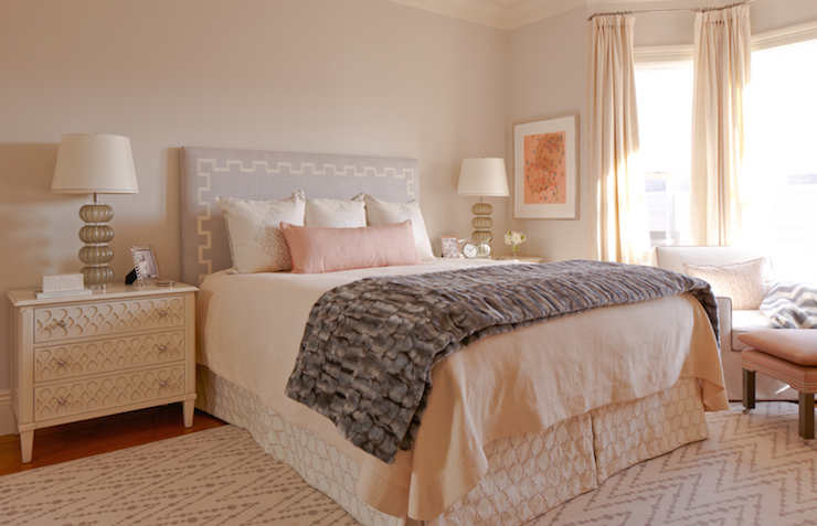 Gray greek key headboard transitional bedroom for White fur bedroom