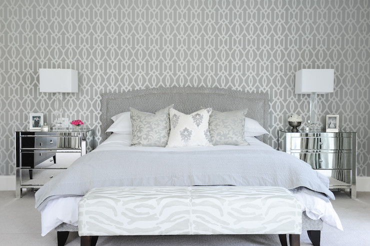 Gray bedroom with mirrored nightstands transitional for Dark grey bedroom wallpaper