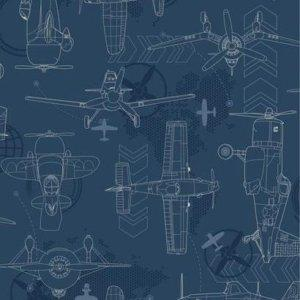 York BLUEPRINT PLANES SIDEWALL DS7738 Wallpaper