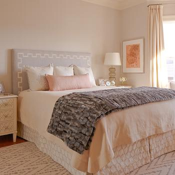 Gray Channel Headboard With Blue Bedding Transitional