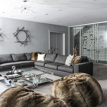 Gray Basement Family Room, Contemporary, Basement, Enviable Designs