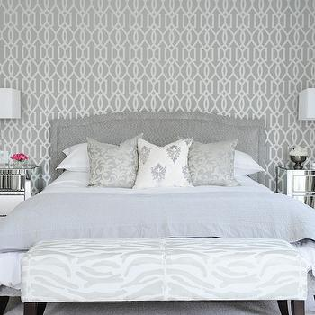 Tall tufted headboard contemporary bedroom tracery for Grey bedroom wallpaper