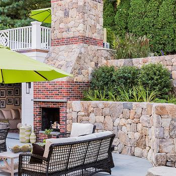 Outdoor Brick Fireplace, Transitional, Deck/patio, Elizabeth Decor and Design
