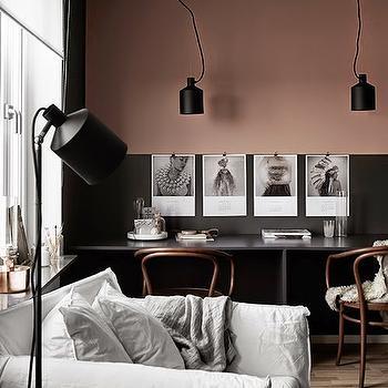 Blush Pink and Black Room, Transitional, Den/library/office, Hitta Hem