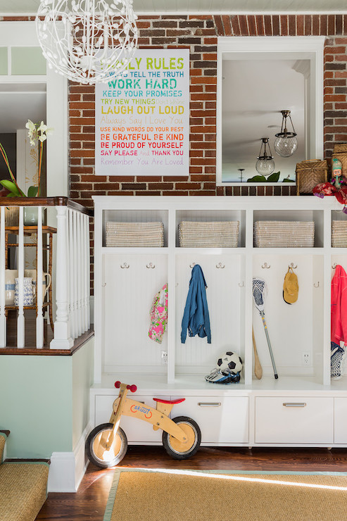 Mudroom With Exposed Brick Wall Design Ideas