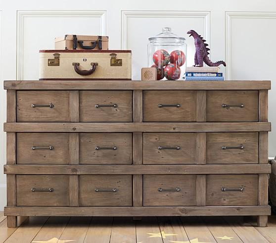 Owen Extra Six Drawer Brown Rustic Dresser