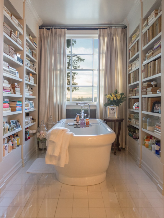 Bathroom with bookshelves transitional bathroom Bathroom design pictures books