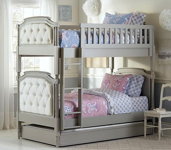 Chesterfield Upholstered Full Over Full Grey Bunk Bed