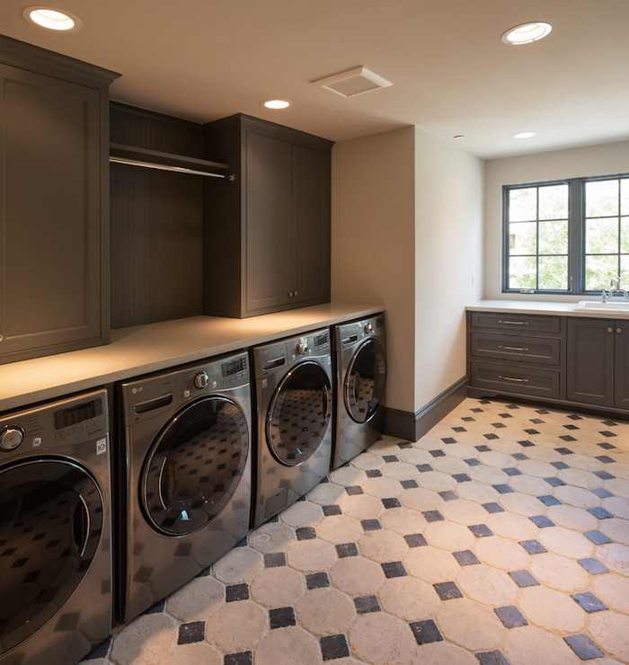 Gray Laundry Room Design Contemporary Laundry Room