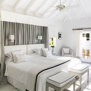 White and Gray Pleated Bed Valance, Transitional, Bedroom, Architectural Digest