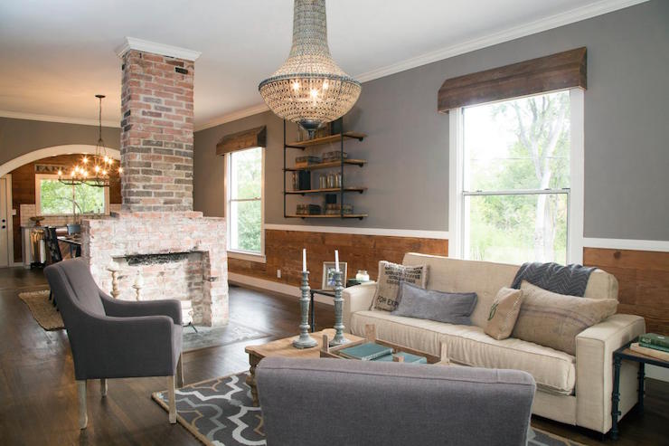 Brick Double Sided Fireplace Country Living Room HGTV