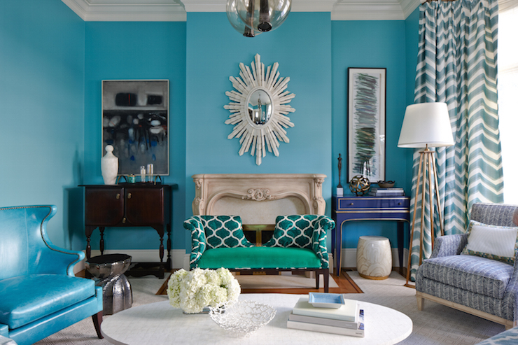 Turquoise living room eclectic living room massucco for Turquoise and white living room ideas