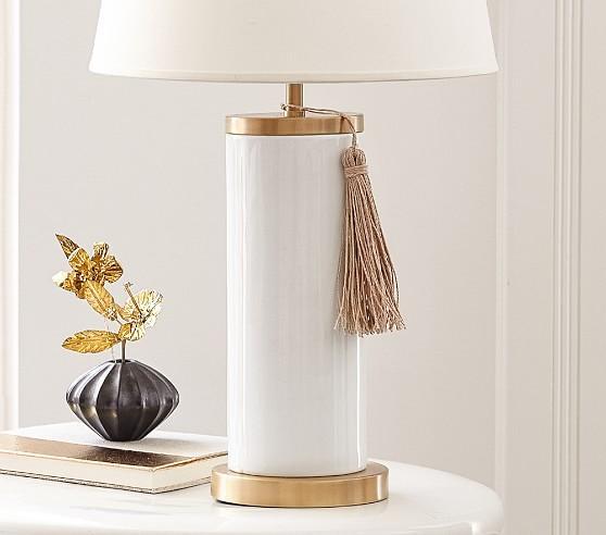 carrington tassel white and gold base lamp