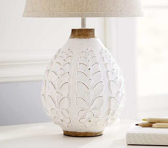 Leighton Carved Mango Wood White Floral Lamp