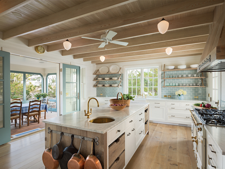 Absolutely Gorgeous Kitchen Features Wood Plank Ceiling Over A Barn Board  Kitchen Island Fitted With A Metal Pot Rack And A Mix Of White Drawers And  Barn ...