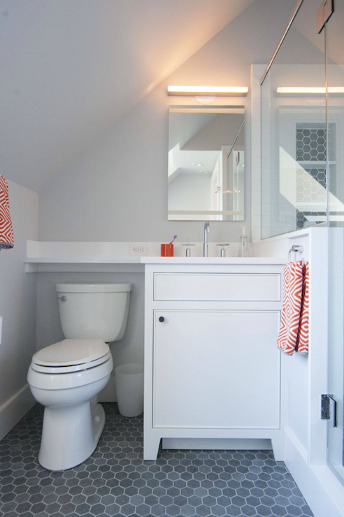 Gray And Orange Bathrooms Contemporary Bathroom